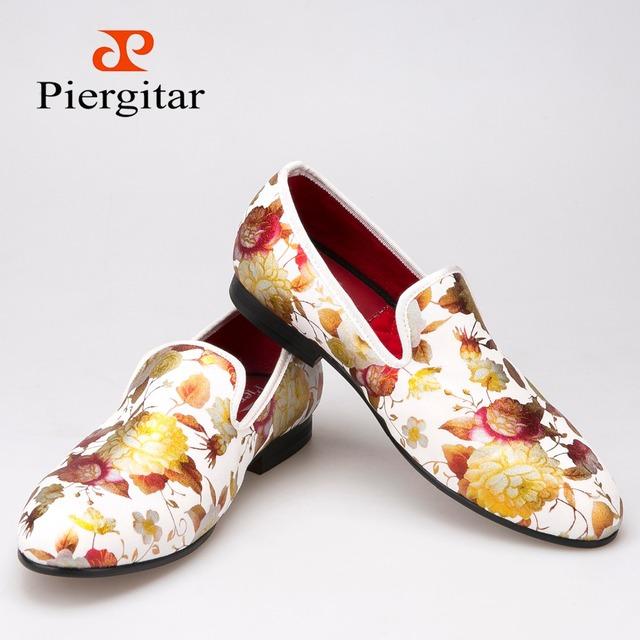 Piergitar китайский стиль печать цветы мужчины ткань ботинки свадьбы и ну вечеринку ...