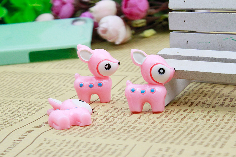 Freeshipping 50pcs 25*39mm cartoon pink deer pattern flat back resin for diy holiday decoration accessories(China (Mainland))
