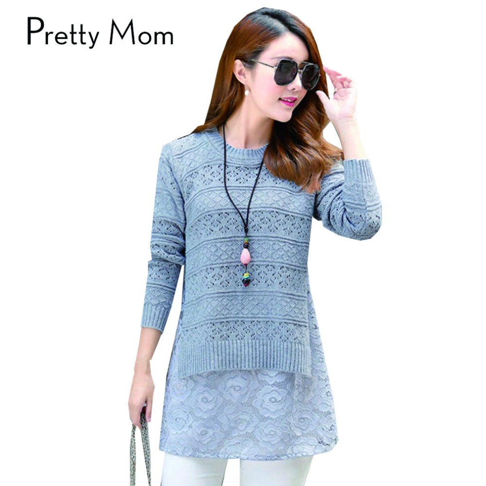 Fashion Lace Patchwork Maternity Sweaters for Pregnant Women Plus Size Women's Clothing Solid Color Pregnancy Clothes Pullover(China (Mainland))