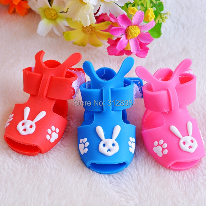4pcs/set Coffee Pink Blue Summer Puppy Dog Shoes For Cats Small Animals XC001 Chihuahua Dachshund Pet Boots Accessories Product(China (Mainland))