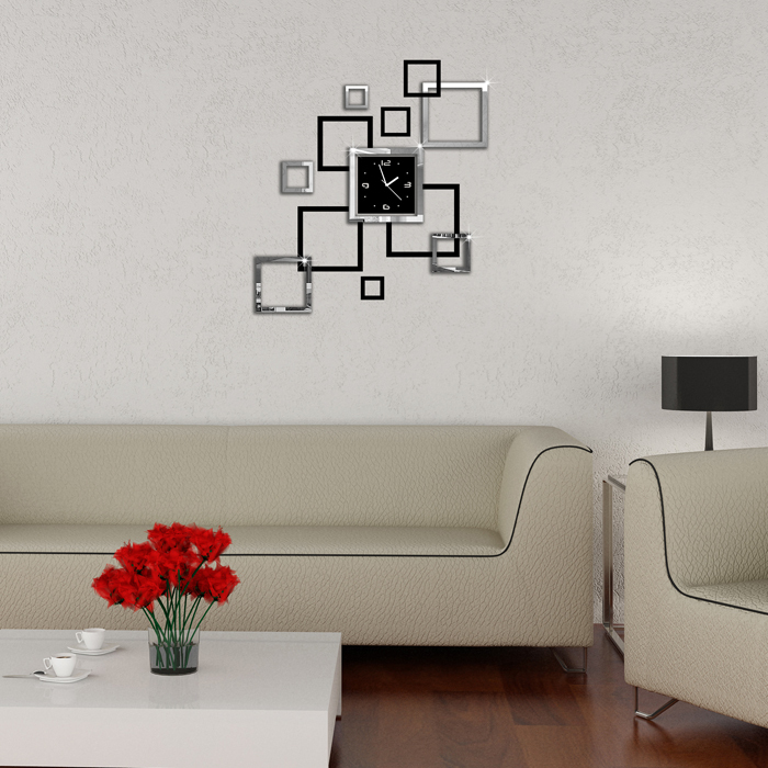 3D Home decoration wall stickers DIY mirror wall clock Double-color Very beautiful work of art(China (Mainland))