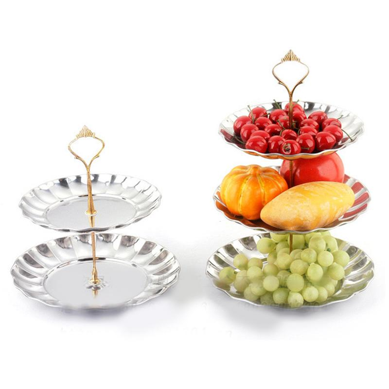 Home Supplies 2-3 Tier Fruits Cakes Desserts Plate Stand Gold Silver Stainless Steel Plates Wedding Party Supplies(China (Mainland))