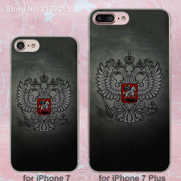 Russia Coat of arms Double-headed eagle hard transparent clear Cover Case for Apple iPhone 7 6 6s Plus 5 5s 4 4s SE(China (Mainland))