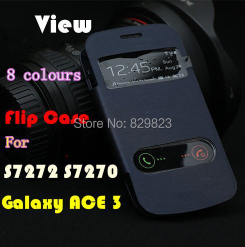 Гаджет   S View Window Flip  Back Cover Cases Battery Housing Case For Samsung Galaxy ACE 3 III S7270 S7272  + Free shipping None Телефоны и Телекоммуникации
