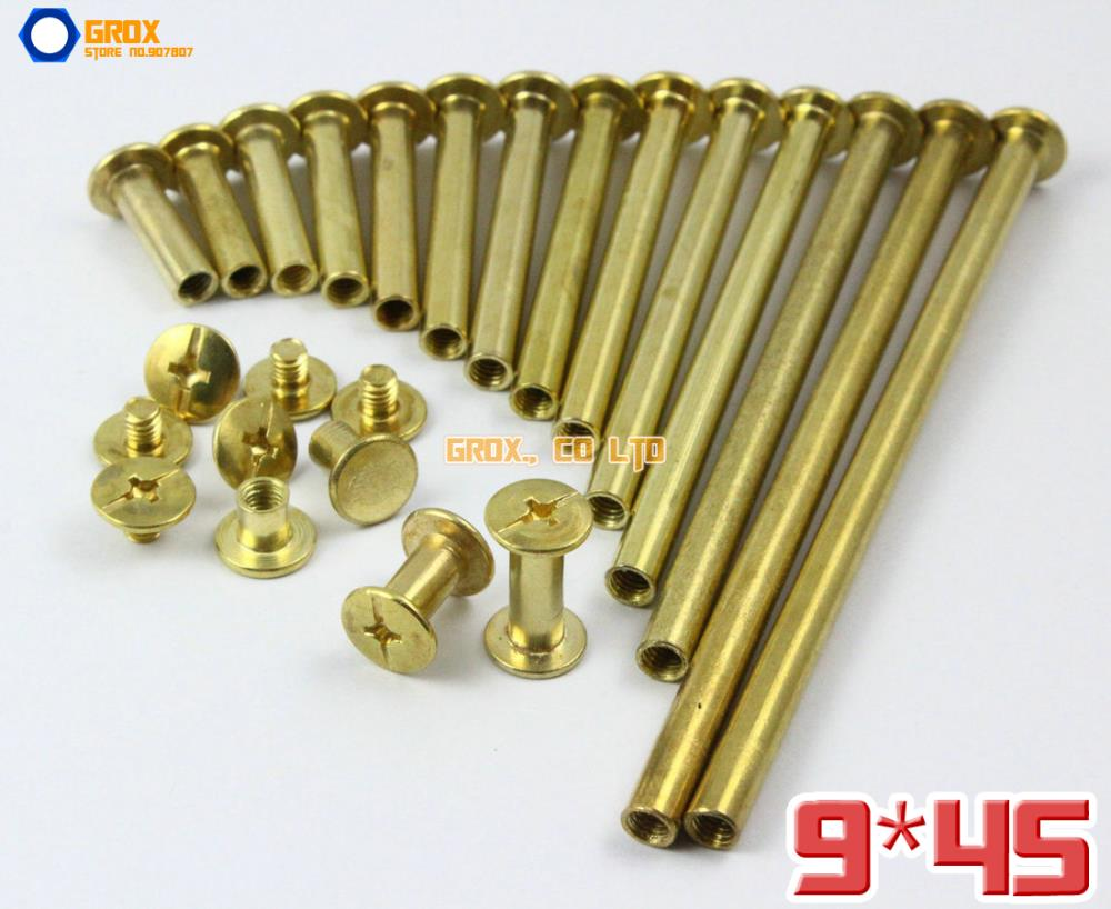 30 Pieces 9 x 45mm Brass Plated Chicago Screw Stud Rivet Belt Strap Fastener (5mm Shank Diameter)<br><br>Aliexpress