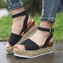 Sandalias con cuña para mujer Zapatos de tacón alto sandalias verano 2019 chussures sandalias de plataforma para mujer Sandalia Feminina(China)