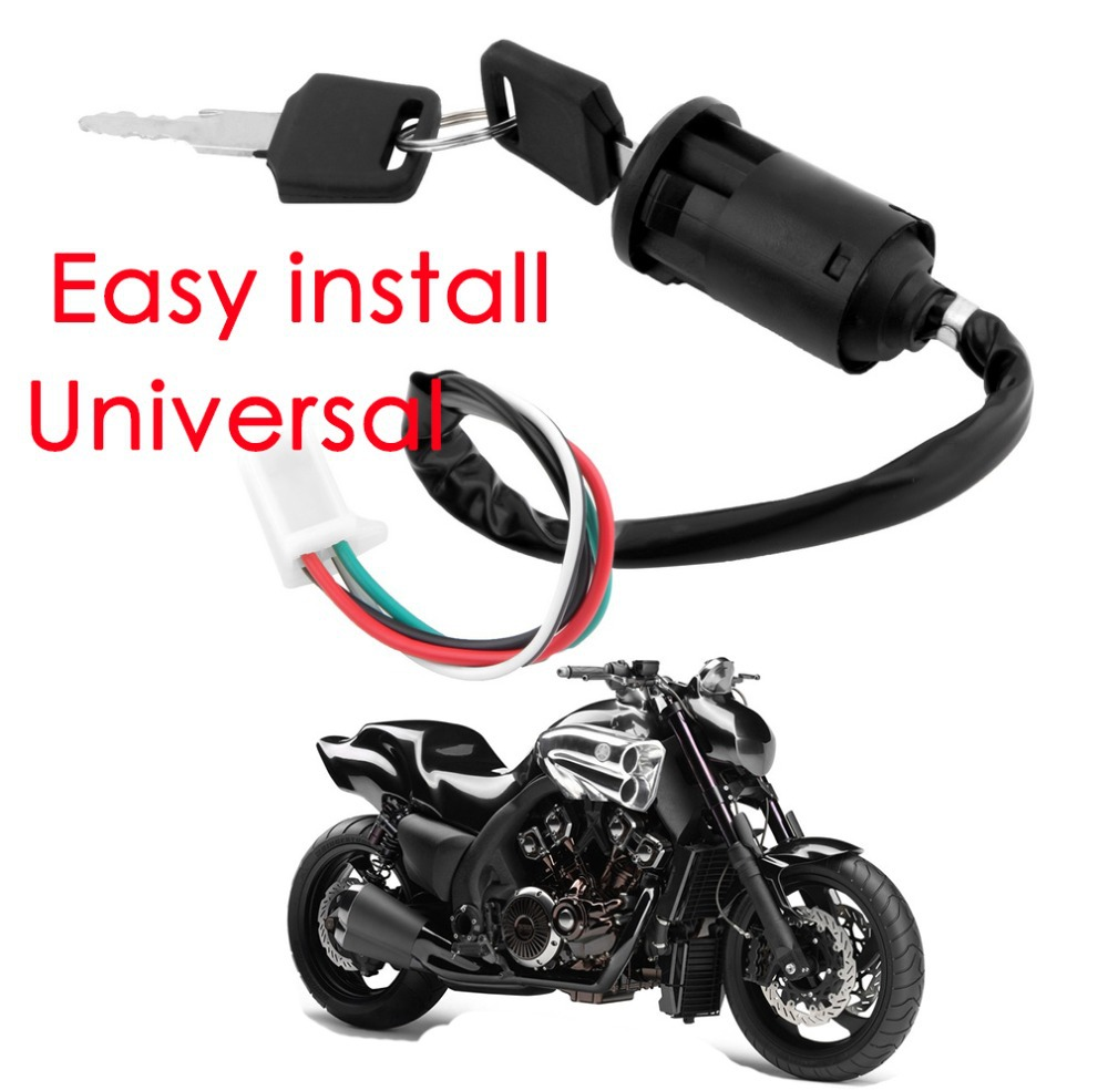 Ignition Key Switch Lock 4 Wires Bike ATV Quad Go Kart Motard Motor Moped Buggy Scooters for Yamaha for Kawasaki for Suzuki*(China (Mainland))
