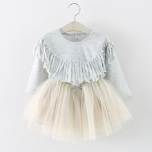 2016 new style spring baby girl dress cute chiffon long-sleeved infantil vestido casual princess dress tassel bebe girls clothes(China (Mainland))
