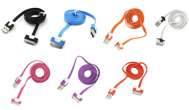 Free shipping CN 2pcs/lot New Arrival colorful flat noodle usb sync charger/data cable for iphone 4 4g 4s for ipad 2 3