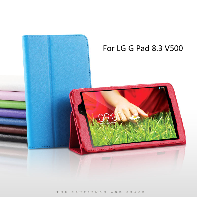 For LG G pad V500 Tablet Slim Protective shell For LG G pad V500 8.3 inch Tablet Case Litchi PU Leather Cover Free Shipping(China (Mainland))