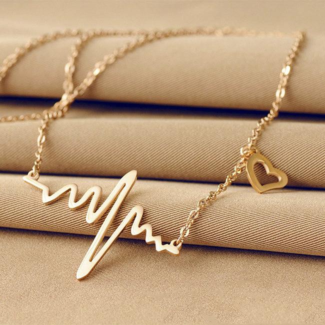 YP0964 Fashion Imitation titanium steel 18K rose gold ECG necklace, Jewelry clavicle wholesale(China (Mainland))