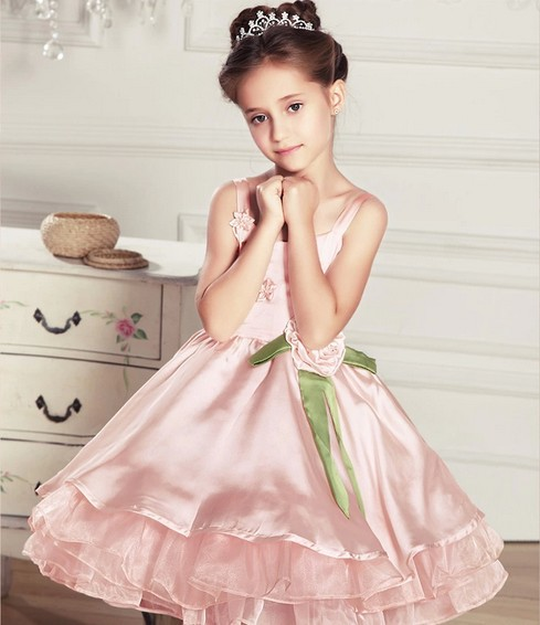 2014 Hot Girls Sleeveless dresses Retail Waist Toddler 3D Flower Tutu Layered Princess Party Bow Kids Formal Dress - Just Me store