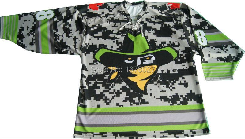 Men's Pro Team Green and Grey Camo Ice Hockey Jerseys With Custom Team Logos For Hockey Clubs(China (Mainland))