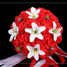 White Wedding Bouquet Artificial Rose Flowers,Bridal Throw Bouquet, Bridal Bouquets 30 flowers Wedding Bouquet Hand Flower FW160(China (Mainland))