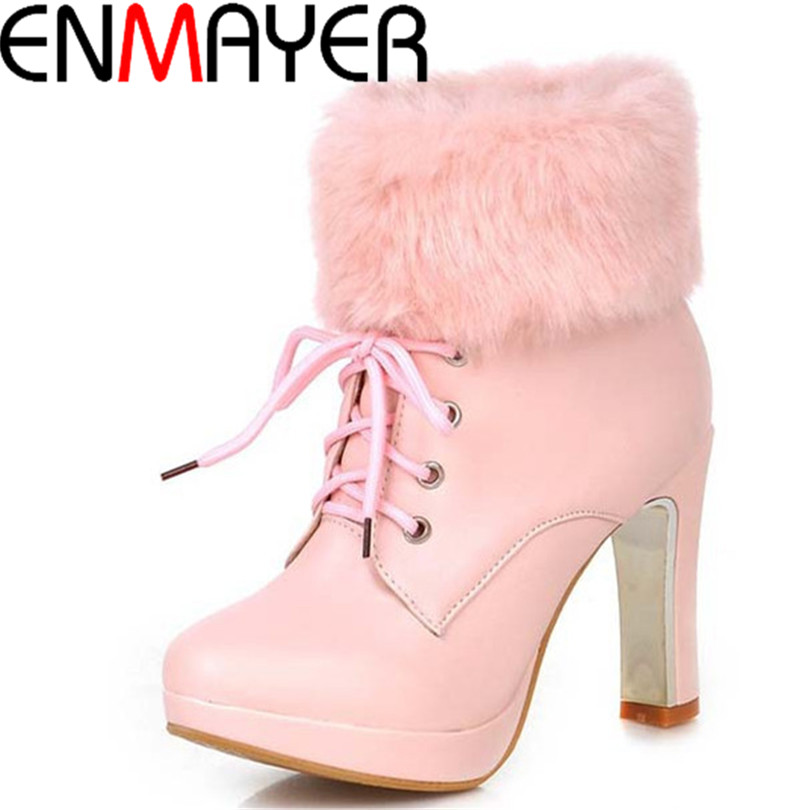 ENMAYER new fashion thick high heels warm snow boots lace up PU womens ankle boots platform shoes woman Round Toe Winter BOOTS <br><br>Aliexpress