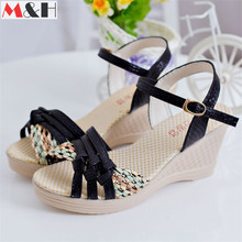 New Women Platform Wedges Sandals 2016 Fashion Buckle Strap High Heel Sandal Wedge Mixed Color Fish Head Women's Summer Shoes