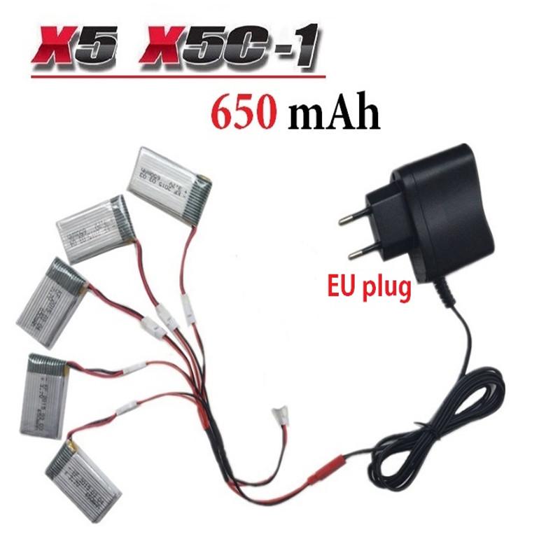 650mAh 3 7V LiPo Battery AC Charger Euro Plug for SYMA X5C 1 X5C X5 X5SC