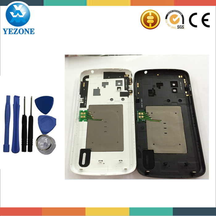Original Back Cover Case Housing LG nexus 4 E960 Battery Door Glass NFC Cable +Free Tools Black White Color - Yezone Electronic Co., Ltd. store