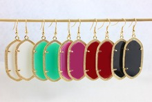 Gold Plated Fashion Earrings for Women Boutique Lady Costumes Jewelry Classic Golden Frame Kendra Style Dangle Earrings(China (Mainland))