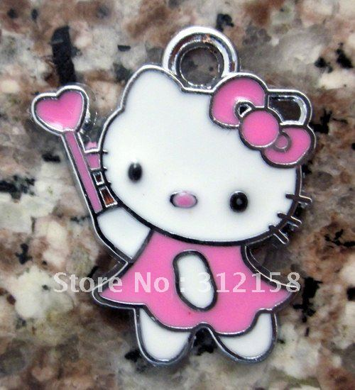 s2947 Free Shipping 100Pcs/Lots Alloy Metal Kitty charms enamel charms key charms(China (Mainland))