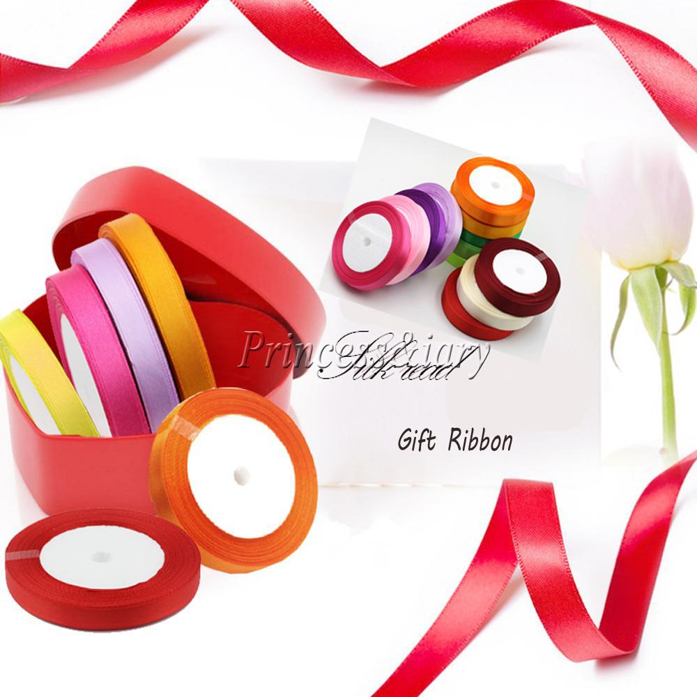 15 Colors Solid Color 1 roll 25 yard 1 4 6mm Wide Single Face Satin Ribbon
