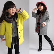 Свободного покроя дети шерсть пальто для девочки утолщаются дети Colorful куртки девочки-младенцы зима смеси пальто лучше сохранить тёплый KC13