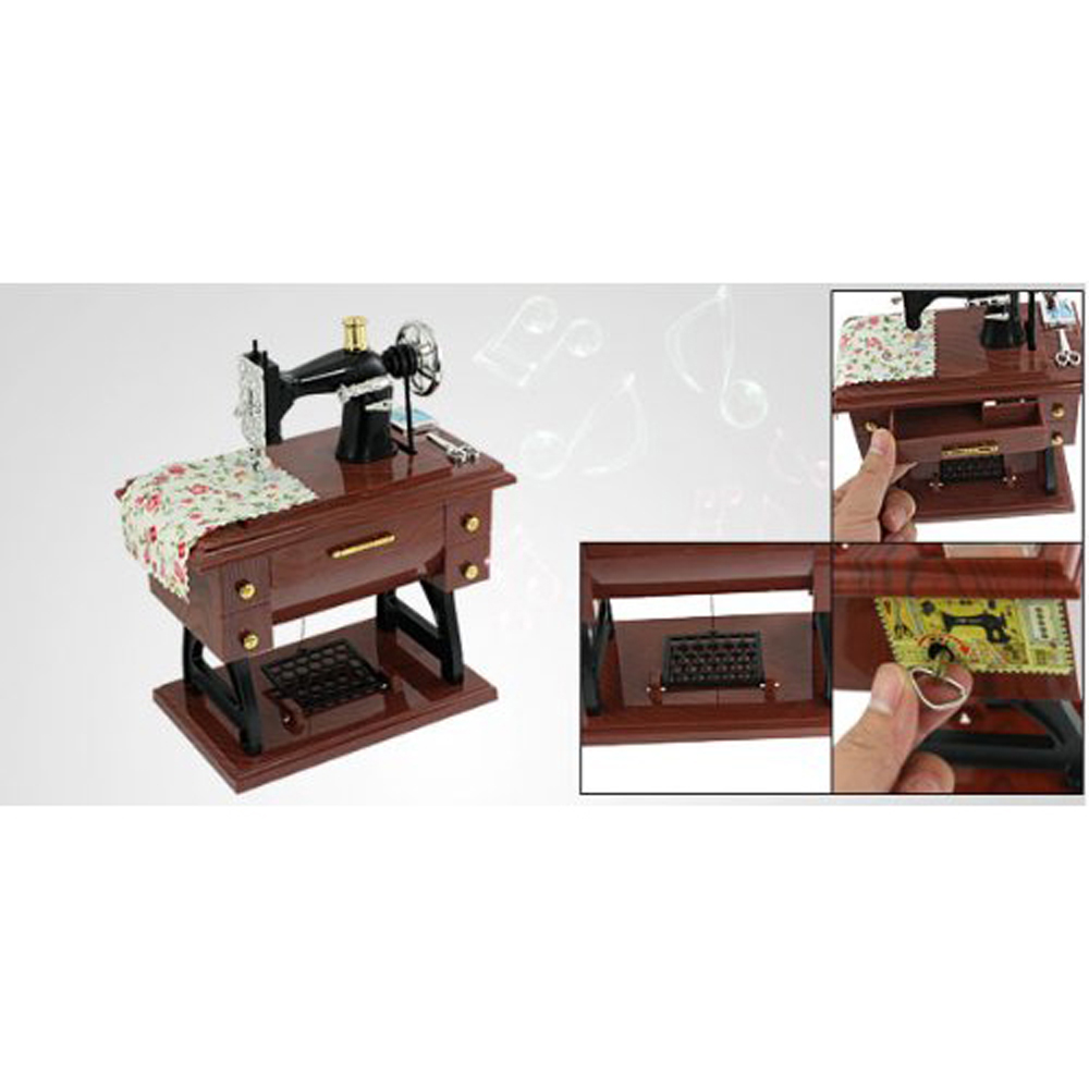 USA Delivery Como Wind Up Vintage Mini Sewing Machine Style Mechanical Music Box(China (Mainland))