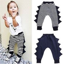2016 New Fashion Baby Boys Girls Harem Pants 3D Dinosaur Striped Toddle Kids PP Pant Trousers