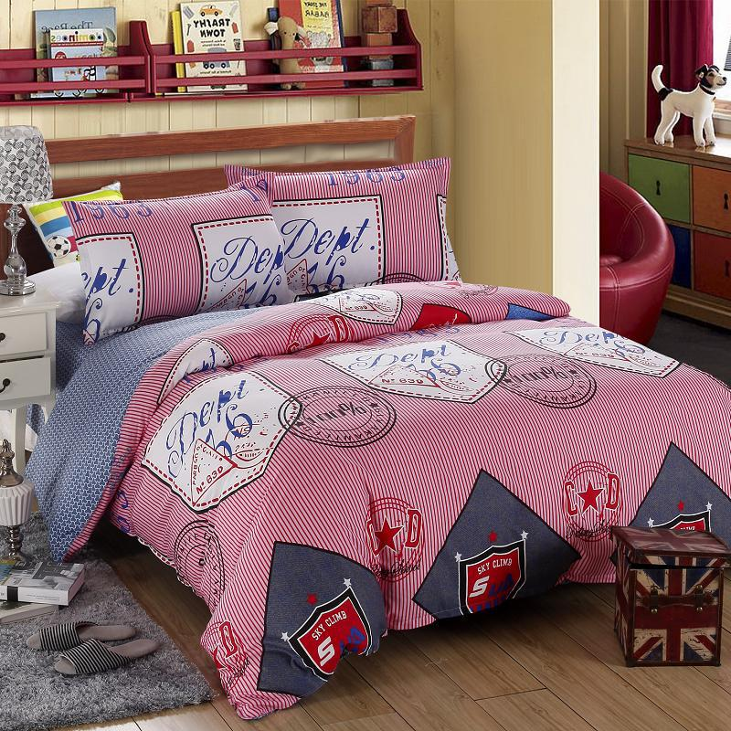 Luxury Extremly High Quality 100% Cotton Brand Bedding Set Hotel Fashion Plaid Reactive Printing 4Pcs Kids Child Queen/King G(China (Mainland))