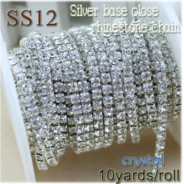 Super sale!10yards/roll SS12(3mm) clear crystal silver base rhinestone sew chain for jewelry diy making accessories(China (Mainland))