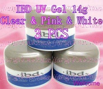 3 Colurs IBD UV Builder Gel Nail Art Gel Clear + Ultra White + Pink 14g / 0.5 oz 3 PCS