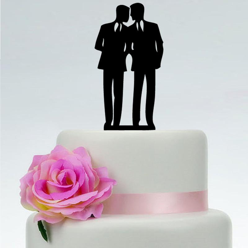 2019 Acrylic Glitter Gold Silver Gay Men Couple Cake Topper Wedding