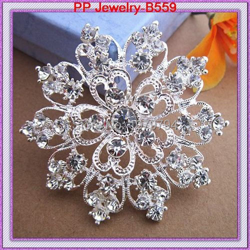 Silver Plated Clear Crystal Rhinestone Heart Flower Pin Brooch Wedding Bouquet(China (Mainland))