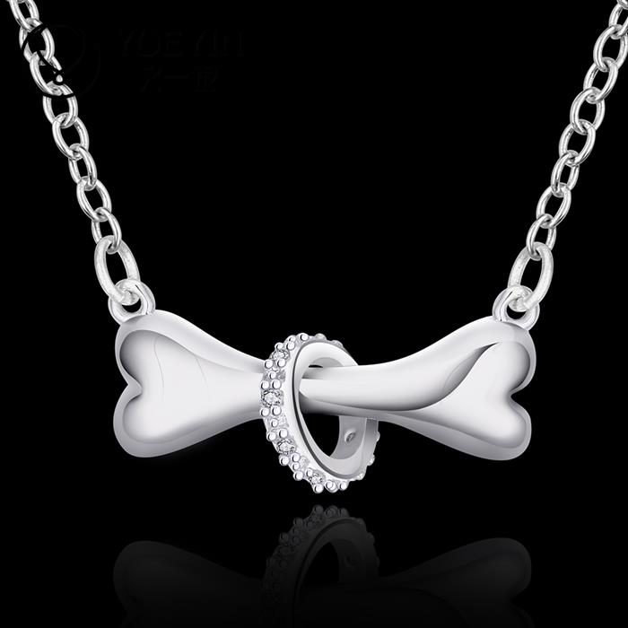 N624 Best selling Hot Fashion silver 925 dog bone rolo chain 18inch Pendant necklace unisex jewelry collar/colar/Halskette(China (Mainland))