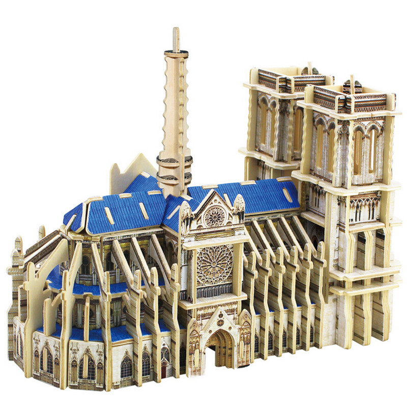 Notre-Dame de Paris 1:24 Assembled Model 3D Wood Puzzle DIY Model Kids Need French Style Room Easy Assembled Best Gifts L104(China (Mainland))