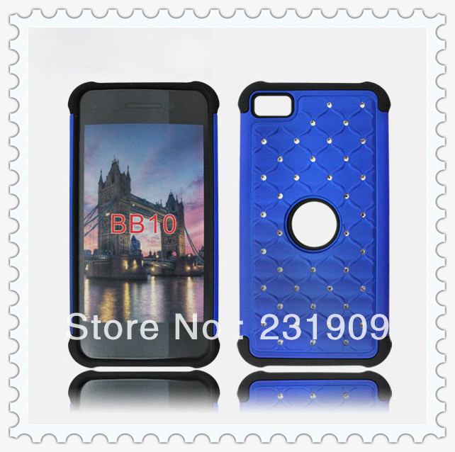 Luxury Diamond Bling 2 in 1 Hybrid Impact Back Skin Hard Cover Shockproof Case For BlackBerry Z10 Via Free DHL(China (Mainland))