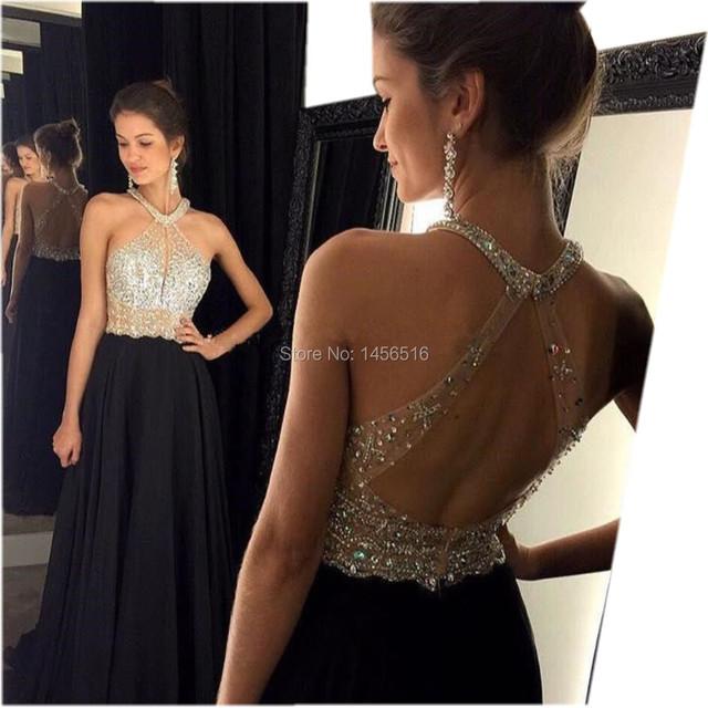 9211 Вт Sexy Line черное платье выпускного вечера 2016 длинные холтер бисером спинки ...