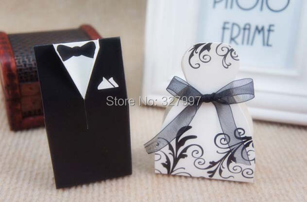 300PCS/lot Wedding bride and groom candy favor boxes white black party decoration supplies marriage bags sugar box Casamento(China (Mainland))