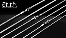 Beier Casual Men Necklaces Silver Stainless Steel Snake Bone Chains Necklaces Men 2 3mm Fashion Men
