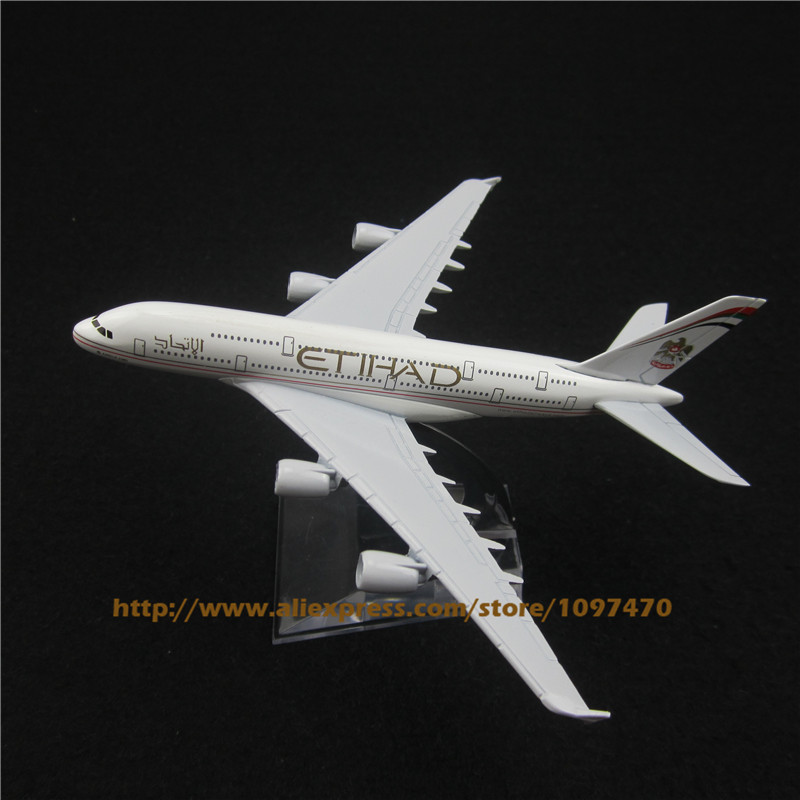 16cm Alloy Metal Plane Model Air Etihad Airways Airbus 380 A380 Airlines Airplane Model w Stand Aircraft Toy Gift(China (Mainland))