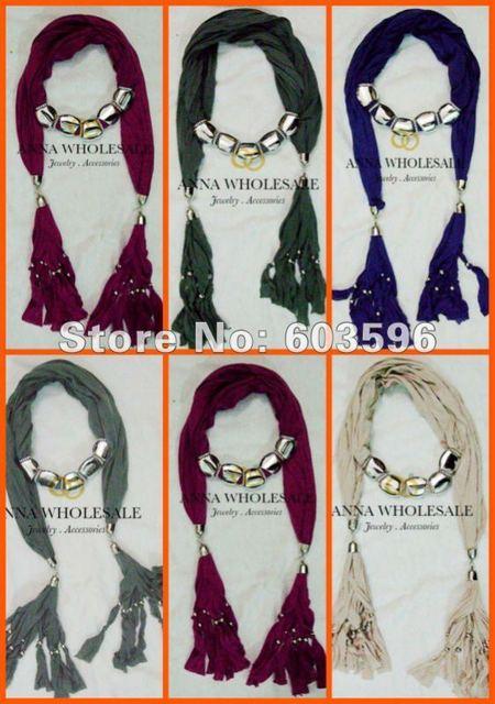 Wholesale 12pcs/Lot Ladies Bohemia Pendant Scarf Women fashion Punk Jewelry Wrap Pendant  Scarves Fashion Charm Necklace