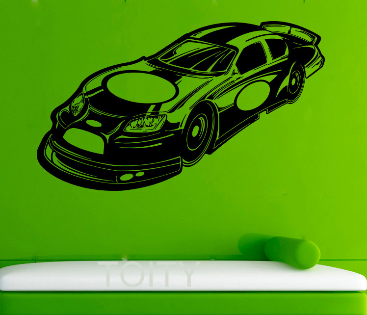 Muscle Car WALL STICKERS ART GRAPHIC DIE CUT VINYL DECAL HOME BEDROOM INTERIOR DECOR STENCIL MURAL(China (Mainland))