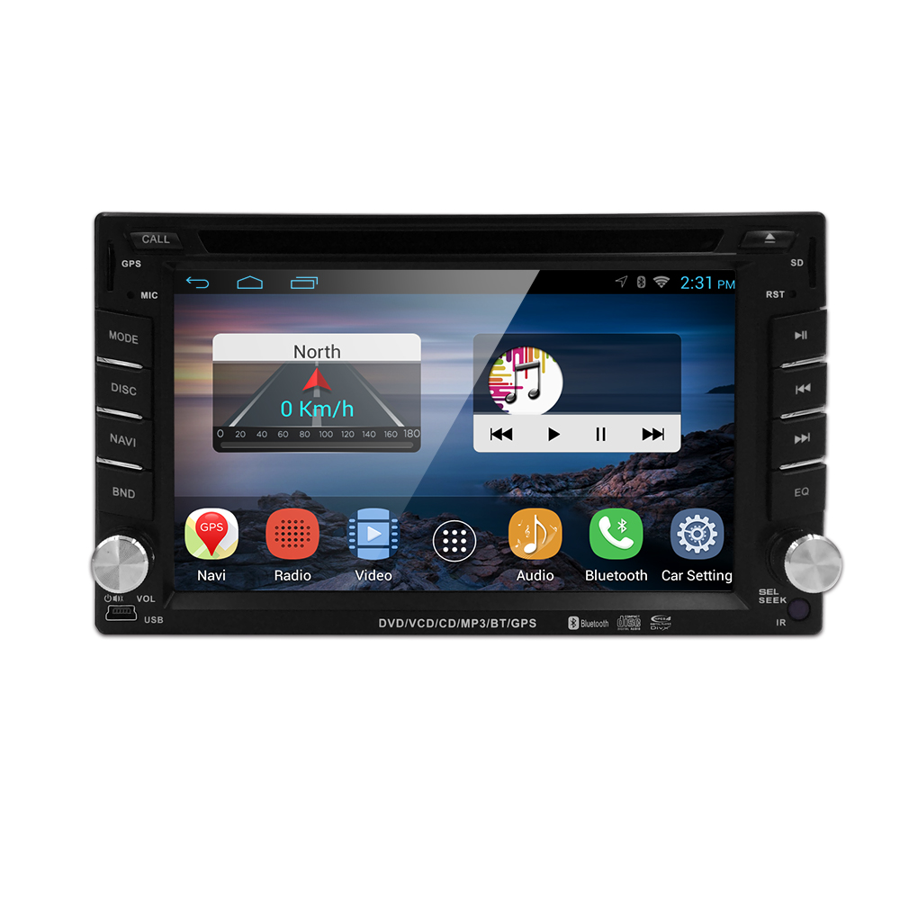 Free shipping QuadCore Android 4.4 car dvd 2din universal Car DVD Player double din Stereo GPS Navigation car radio android 2din(China (Mainland))