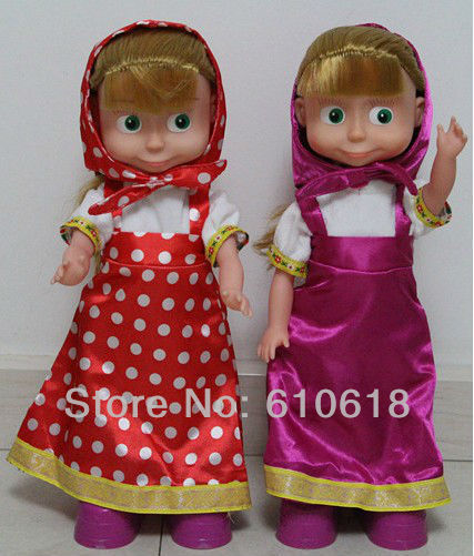 Free Shipping Russian Language Cartoon Anime Singing And Dancing Martha And Beer Musical Dolls Baby Children Best Gift 1 Pcs