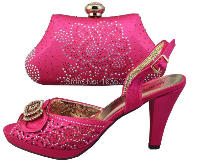 2015 Luxury Party Ladies Wedding Shoes And Bag To Match In Fushia Pink In Womens Pumps From
