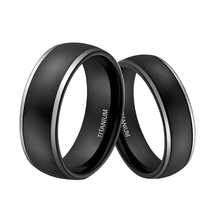 6mm Amp 8mm Men Women Titanium Engagement Wedding Bands Couples Rings Sets Two Tone Polished