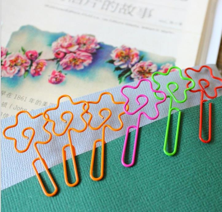New fashion kawaii korean stationery 6pcs Color sweet flower paper clips Creative fashion students metal memo clip wholesale(China (Mainland))