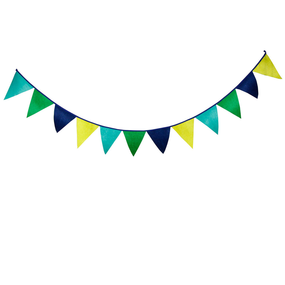 12 Flags 3.1m Cute Solid Green Yellow Mixed Nonwoven Fabric Bunting Pennant Flag Banner Garland Birthday Baby Show Party Decor(China (Mainland))