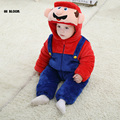 Children Costume Winter Flannel Baby Super Mary Cartoon Costume For 0 3 Baby Boys Girls Hooded