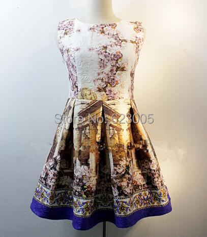 product european style elegant floral fashion dresses